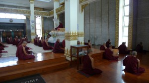Monks meditating in the Mahasi Shrine room MSY