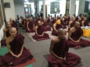 Monks in meditation at the Mahasi Lodge, MSY.