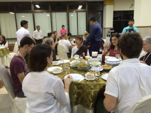 Special meal for yogis the night before beginning their 14 day retreat at MSY, Yangon.